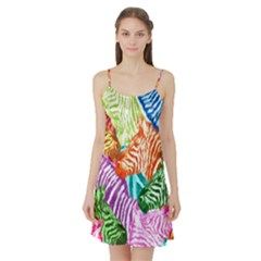 Zebra Colorful Abstract Collage Satin Night Slip