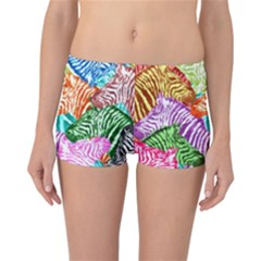 Zebra Colorful Abstract Collage Reversible Bikini Bottoms