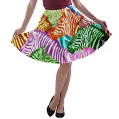 Zebra Colorful Abstract Collage A Line Skater Skirt