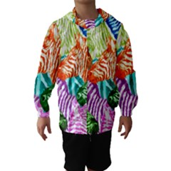Zebra Colorful Abstract Collage Hooded Wind Breaker (kids)