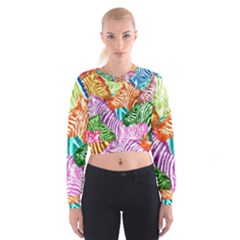 Zebra Colorful Abstract Collage Women s Cropped Sweatshirt