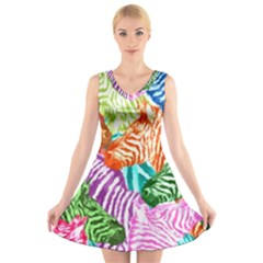 Zebra Colorful Abstract Collage V Neck Sleeveless Skater Dress