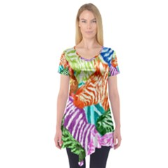 Zebra Colorful Abstract Collage Short Sleeve Tunic