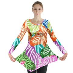 Zebra Colorful Abstract Collage Long Sleeve Tunic