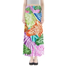 Zebra Colorful Abstract Collage Maxi Skirts