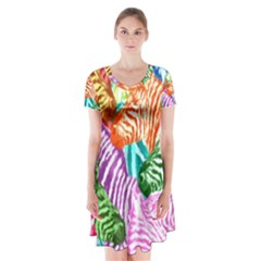 Zebra Colorful Abstract Collage Short Sleeve V Neck Flare Dress