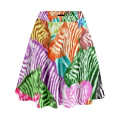 Zebra Colorful Abstract Collage High Waist Skirt