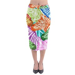 Zebra Colorful Abstract Collage Midi Pencil Skirt