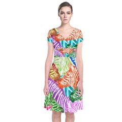 Zebra Colorful Abstract Collage Short Sleeve Front Wrap Dress
