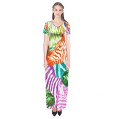 Zebra Colorful Abstract Collage Short Sleeve Maxi Dress