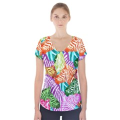 Zebra Colorful Abstract Collage Short Sleeve Front Detail Top