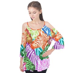 Zebra Colorful Abstract Collage Flutter Tees