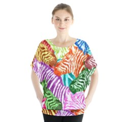 Zebra Colorful Abstract Collage Blouse