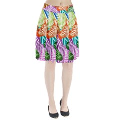 Zebra Colorful Abstract Collage Pleated Skirt