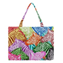 Zebra Colorful Abstract Collage Medium Tote Bag
