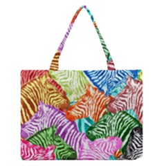 Zebra Colorful Abstract Collage Medium Zipper Tote Bag