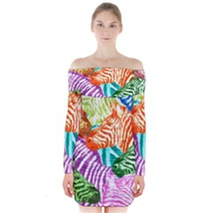 Zebra Colorful Abstract Collage Long Sleeve Off Shoulder Dress