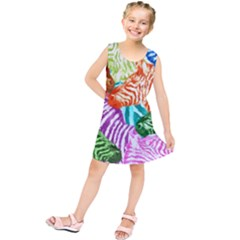 Zebra Colorful Abstract Collage Kids  Tunic Dress