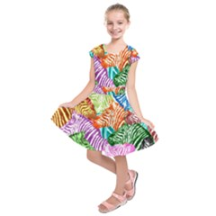 Zebra Colorful Abstract Collage Kids  Short Sleeve Dress