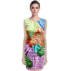 Zebra Colorful Abstract Collage Sleeveless Velvet Midi Dress