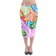 Zebra Colorful Abstract Collage Velvet Midi Pencil Skirt
