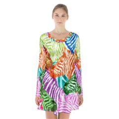 Zebra Colorful Abstract Collage Long Sleeve Velvet V Neck Dress