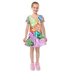 Zebra Colorful Abstract Collage Kids  Short Sleeve Velvet Dress