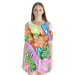 Zebra Colorful Abstract Collage Shoulder Cutout Velvet  One Piece