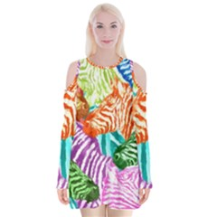 Zebra Colorful Abstract Collage Velvet Long Sleeve Shoulder Cutout Dress