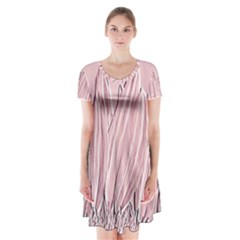 Shabby Chic Vintage Background Short Sleeve V Neck Flare Dress