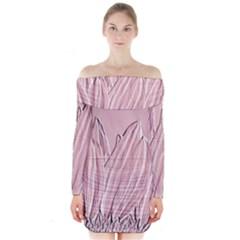 Shabby Chic Vintage Background Long Sleeve Off Shoulder Dress