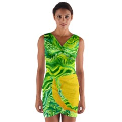 Zitro Abstract Sour Texture Food Wrap Front Bodycon Dress