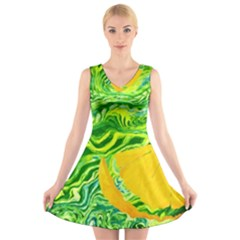 Zitro Abstract Sour Texture Food V-Neck Sleeveless Skater Dress