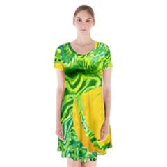 Zitro Abstract Sour Texture Food Short Sleeve V-neck Flare Dress