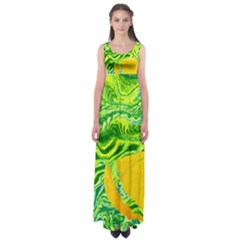 Zitro Abstract Sour Texture Food Empire Waist Maxi Dress