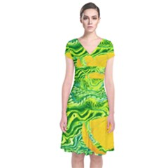 Zitro Abstract Sour Texture Food Short Sleeve Front Wrap Dress