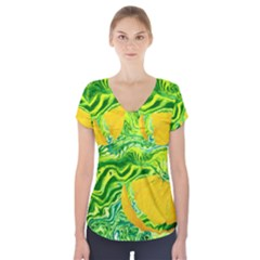 Zitro Abstract Sour Texture Food Short Sleeve Front Detail Top