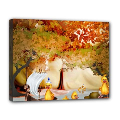 Art Kuecken Badespass Arrangemen Canvas 14  X 11