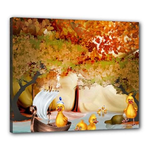Art Kuecken Badespass Arrangemen Canvas 24  X 20