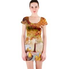 Art Kuecken Badespass Arrangemen Short Sleeve Bodycon Dress