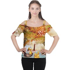 Art Kuecken Badespass Arrangemen Women s Cutout Shoulder Tee