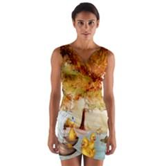 Art Kuecken Badespass Arrangemen Wrap Front Bodycon Dress
