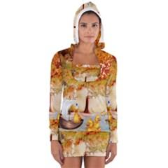 Art Kuecken Badespass Arrangemen Women s Long Sleeve Hooded T Shirt
