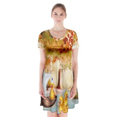 Art Kuecken Badespass Arrangemen Short Sleeve V Neck Flare Dress