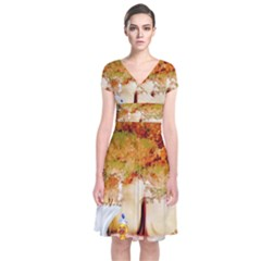 Art Kuecken Badespass Arrangemen Short Sleeve Front Wrap Dress