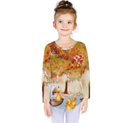 Art Kuecken Badespass Arrangemen Kids  Long Sleeve Tee