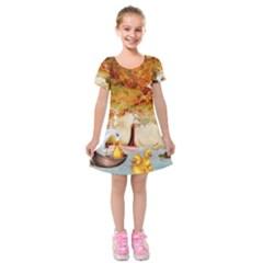 Art Kuecken Badespass Arrangemen Kids  Short Sleeve Velvet Dress