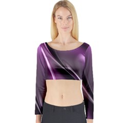Fractal Mathematics Abstract Long Sleeve Crop Top