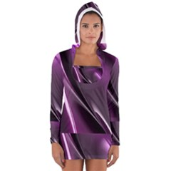 Fractal Mathematics Abstract Women s Long Sleeve Hooded T Shirt