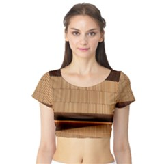 Architecture Art Boxes Brown Short Sleeve Crop Top (tight Fit)